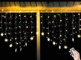 BLOOMWIN 2*1M Warmweiß Schneeflocken Lichtervorhang 8 Modi, 104 LED 220V IP44 Curtain Light Weihnachtsbeleuchtung für Balkon, Fenster, Schaufenster, Wand, Hochzeit, Party, Weihnachten - 1