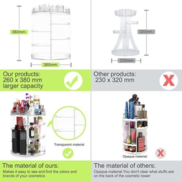 Boxalls Heine Home Beauty-Organizer,Um 360° drehbar Kosmetikbox, großen 8er Contouring Paletten für Dresser, Schlafzimmer, Badezimmer - 6