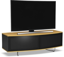 Centurion Supports CARU glänzend schwarz und Eiche Beam-Thru Fernbedienung Freundlicher super-Contemporary D Form Design 81,3 cm-65 LED/OLED/LCD TV Schrank - 1
