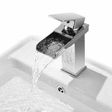 Cozime Wasserfall Wasserhahn, Chrom Wasserhahn Badezimmer ...