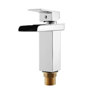 Cozime Wasserfall Wasserhahn, Chrom Wasserhahn Badezimmer Waschbecken Wasserfall, Square, Kein Rost Bassing - 5