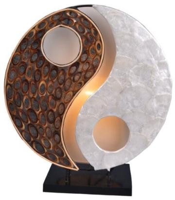 Deko-Leuchte YING YANG NATUR, rund, Natur-Material, Höhe ca. 30 cm, Stimmungsleuchte - 1