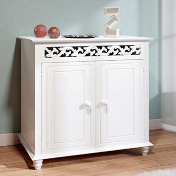 Deuba Kommode weiß »Jersey« mit 2 Türen im Landhaus Stil, Einlegeboden, 76 x 65 x 35cm - Sideboard Schrank Anrichte Mehrzweckschrank Holz Antik - 2
