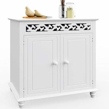 Deuba Kommode weiß »Jersey« mit 2 Türen im Landhaus Stil, Einlegeboden, 76 x 65 x 35cm - Sideboard Schrank Anrichte Mehrzweckschrank Holz Antik - 3