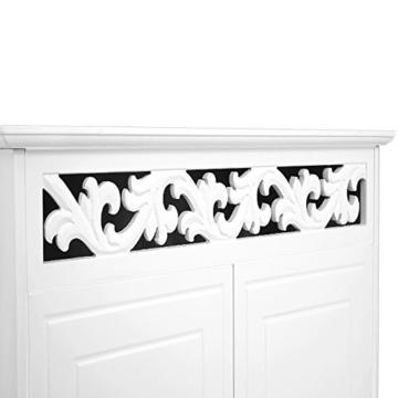Deuba Kommode weiß »Jersey« mit 2 Türen im Landhaus Stil, Einlegeboden, 76 x 65 x 35cm - Sideboard Schrank Anrichte Mehrzweckschrank Holz Antik - 4