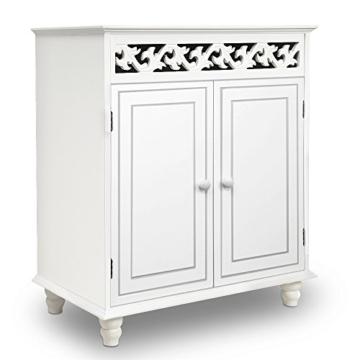 Deuba Kommode weiß »Jersey« mit 2 Türen im Landhaus Stil, Einlegeboden, 76 x 65 x 35cm - Sideboard Schrank Anrichte Mehrzweckschrank Holz Antik - 1