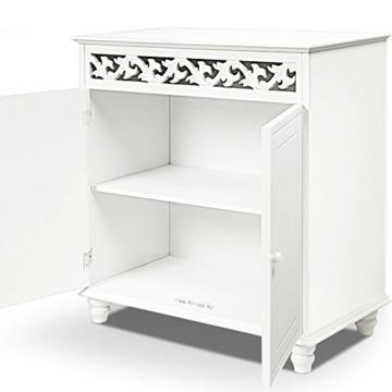 Deuba Kommode weiß »Jersey« mit 2 Türen im Landhaus Stil, Einlegeboden, 76 x 65 x 35cm - Sideboard Schrank Anrichte Mehrzweckschrank Holz Antik - 5