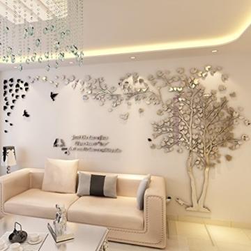 DIY 3D Riesiger Baum Paar Wandtattoos Wandaufkleber Kristall Acryl Malen Wanddeko Wandkunst (XL, Silber, Links) - 3