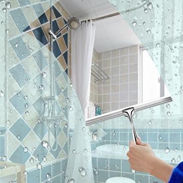 Duschabzieher Edelstahl Duschwischer mit Wandaufhänger ohne bohren Silikon-Wischlippe Fensterabzieher für Badezimmer Spiegel Fenster Glasreinigung - 3