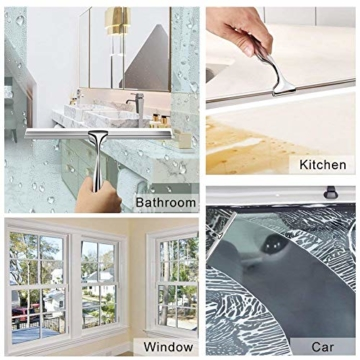 Duschabzieher Edelstahl Duschwischer mit Wandaufhänger ohne bohren Silikon-Wischlippe Fensterabzieher für Badezimmer Spiegel Fenster Glasreinigung - 7