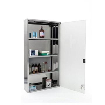 Edelstahl Medizinschrank Arzneischrank Erste Hilfe Schrank mit Schloss in Verschiedene Farben/Größe (Silber, 60x30cm) - 3