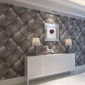 Europa Hanmero PVC Fernseher Hintergrund Leder Mustertapete Relief 3D-Wallpaper 0,53*10m 3 Farben für Schlafzimmer, Wohnzimmer, Hotel, Büro, Flur (Dunkel-grau) - 2