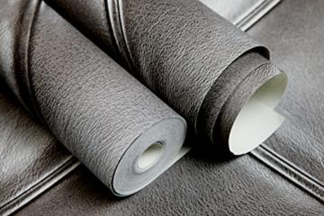 Europa Hanmero PVC Fernseher Hintergrund Leder Mustertapete Relief 3D-Wallpaper 0,53*10m 3 Farben für Schlafzimmer, Wohnzimmer, Hotel, Büro, Flur (Dunkel-grau) - 4