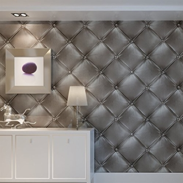 Europa Hanmero PVC Fernseher Hintergrund Leder Mustertapete Relief 3D-Wallpaper 0,53*10m 3 Farben für Schlafzimmer, Wohnzimmer, Hotel, Büro, Flur (Dunkel-grau) - 1