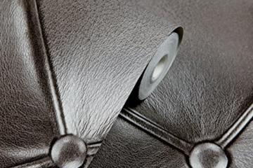 Europa Hanmero PVC Fernseher Hintergrund Leder Mustertapete Relief 3D-Wallpaper 0,53*10m 3 Farben für Schlafzimmer, Wohnzimmer, Hotel, Büro, Flur (Dunkel-grau) - 5