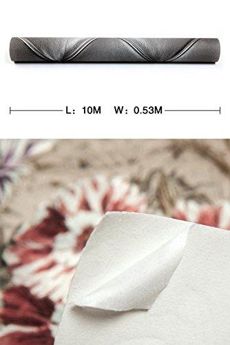 Europa Hanmero PVC Fernseher Hintergrund Leder Mustertapete Relief 3D-Wallpaper 0,53*10m 3 Farben für Schlafzimmer, Wohnzimmer, Hotel, Büro, Flur (Dunkel-grau) - 7