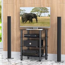 FITUEYES TV Rack Hifi Regal Audio Schrank mit schwarz Glas und Alu AS406001GB - 1