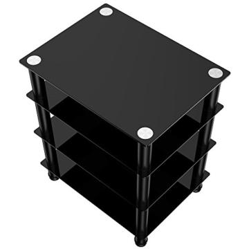 FITUEYES TV Rack Hifi Regal Audio Schrank mit schwarz Glas und Alu AS406001GB - 2