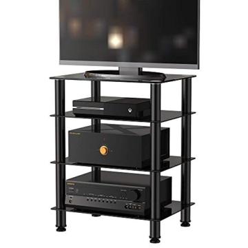 FITUEYES TV Rack Hifi Regal Audio Schrank mit schwarz Glas und Alu AS406001GB - 3