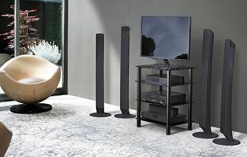 FITUEYES TV Rack Hifi Regal Audio Schrank mit schwarz Glas und Alu AS406001GB - 7