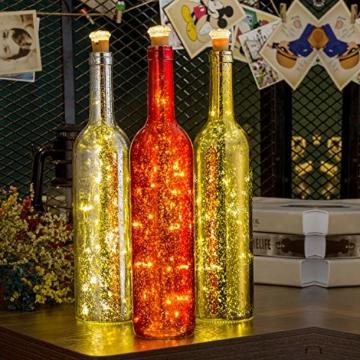 Flaschen-Licht, HUAFA Weinflaschen Lichter (Gold&Rot&Silber Flasche), Angetrieben von 3 Stück LR44 Batterie (inbegriffen), LED Nacht Licht Flaschenbeleuchtung Romantische Deko, Zimmer Dekoration, Weihnachten, Allerheiligen, Hochzeit, Bar Dekoration (warm weiß) - 5