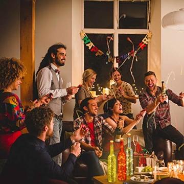 Flaschen-Licht, HUAFA Weinflaschen Lichter (Gold&Rot&Silber Flasche), Angetrieben von 3 Stück LR44 Batterie (inbegriffen), LED Nacht Licht Flaschenbeleuchtung Romantische Deko, Zimmer Dekoration, Weihnachten, Allerheiligen, Hochzeit, Bar Dekoration (warm weiß) - 7