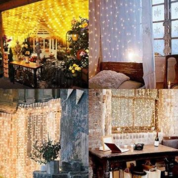Greatever Lichtervorhang, 300 LEDs Lichterkettenvorhang 3M*3M IP65 Wasserfest 8 Modi Lichterkette Warmweiß für Weihnachten Party Schlafzimmer Innen und außen Deko - 2