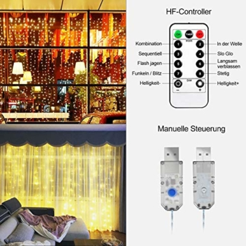 Greatever Lichtervorhang, 300 LEDs Lichterkettenvorhang 3M*3M IP65 Wasserfest 8 Modi Lichterkette Warmweiß für Weihnachten Party Schlafzimmer Innen und außen Deko - 3