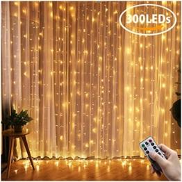 Greatever Lichtervorhang, 300 LEDs Lichterkettenvorhang 3M*3M IP65 Wasserfest 8 Modi Lichterkette Warmweiß für Weihnachten Party Schlafzimmer Innen und außen Deko - 1