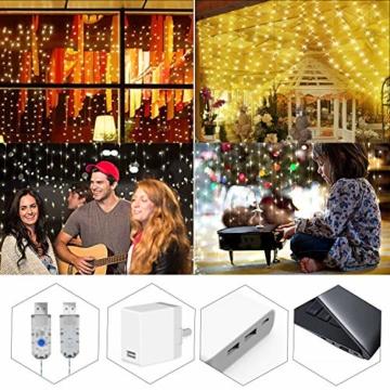 Greatever Lichtervorhang, 300 LEDs Lichterkettenvorhang 3M*3M IP65 Wasserfest 8 Modi Lichterkette Warmweiß für Weihnachten Party Schlafzimmer Innen und außen Deko - 4