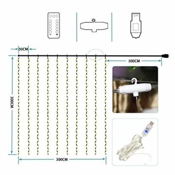Greatever Lichtervorhang, 300 LEDs Lichterkettenvorhang 3M*3M IP65 Wasserfest 8 Modi Lichterkette Warmweiß für Weihnachten Party Schlafzimmer Innen und außen Deko - 5