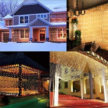 Greatever Lichtervorhang, 300 LEDs Lichterkettenvorhang 3M*3M IP65 Wasserfest 8 Modi Lichterkette Warmweiß für Weihnachten Party Schlafzimmer Innen und außen Deko - 6