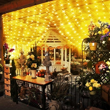 Greatever Lichtervorhang, 300 LEDs Lichterkettenvorhang 3M*3M IP65 Wasserfest 8 Modi Lichterkette Warmweiß für Weihnachten Party Schlafzimmer Innen und außen Deko - 7