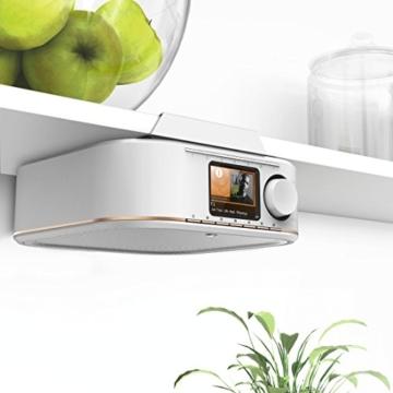 Hama IR350M WLAN Küchen-/Internetradio (Spotify, unterbaufähig, 2,4 Zoll Farbdisplay, WiFi-Streaming, 2 Weckzeiten, Multiroom, Klemmmontage ohne Bohren, gratis Radio-App, Eieruhr) weiß/kupfer - 2