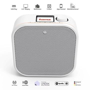 Hama IR350M WLAN Küchen-/Internetradio (Spotify, unterbaufähig, 2,4 Zoll Farbdisplay, WiFi-Streaming, 2 Weckzeiten, Multiroom, Klemmmontage ohne Bohren, gratis Radio-App, Eieruhr) weiß/kupfer - 3