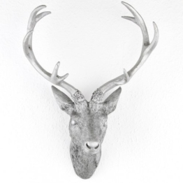 Hirschgeweih Hirschkopf Geweih 10-Ender in Silber, Metall-Optik 30 x 40 cm, Figur Skulptur Deko - 1