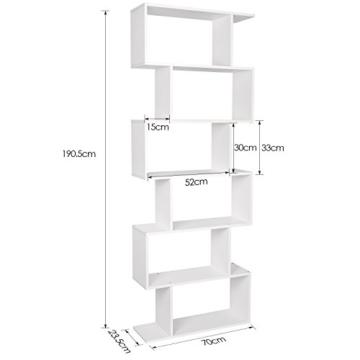HOMFA S-Form Bücherregal Raumteiler Regal Standregal Ablageregal Büroregal Aktenregal Wandregal für Diele, Flur, Büro mit 6 Ablagen 190.5*70*23.5 cm (H x B x T) - 2