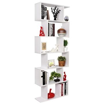 HOMFA S-Form Bücherregal Raumteiler Regal Standregal Ablageregal Büroregal Aktenregal Wandregal für Diele, Flur, Büro mit 6 Ablagen 190.5*70*23.5 cm (H x B x T) - 3
