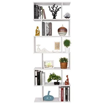 HOMFA S-Form Bücherregal Raumteiler Regal Standregal Ablageregal Büroregal Aktenregal Wandregal für Diele, Flur, Büro mit 6 Ablagen 190.5*70*23.5 cm (H x B x T) - 1