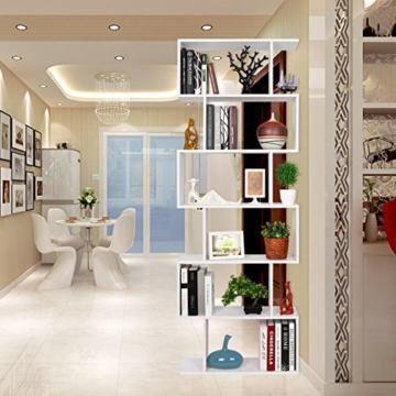 HOMFA S-Form Bücherregal Raumteiler Regal Standregal Ablageregal Büroregal Aktenregal Wandregal für Diele, Flur, Büro mit 6 Ablagen 190.5*70*23.5 cm (H x B x T) - 5