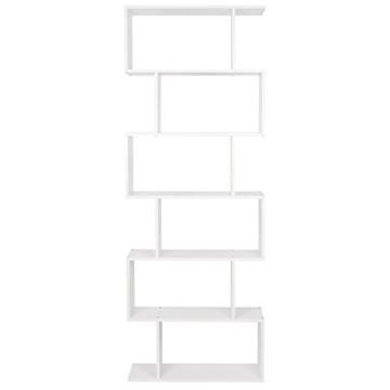 HOMFA S-Form Bücherregal Raumteiler Regal Standregal Ablageregal Büroregal Aktenregal Wandregal für Diele, Flur, Büro mit 6 Ablagen 190.5*70*23.5 cm (H x B x T) - 7