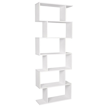 HOMFA S-Form Bücherregal Raumteiler Regal Standregal Ablageregal Büroregal Aktenregal Wandregal für Diele, Flur, Büro mit 6 Ablagen 190.5*70*23.5 cm (H x B x T) - 8