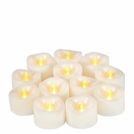 JZK 12 Flackern flammenloses LED Kerzen Lichter Batteriebetrieben Teelicht Teelichter, indoor oder outdoor Deko Lichts für Hochzeit Valentinstag Weihnachten Geburtstag Party - 1