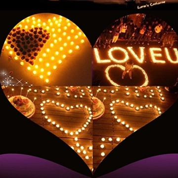 JZK 12 Flackern flammenloses LED Kerzen Lichter Batteriebetrieben Teelicht Teelichter, indoor oder outdoor Deko Lichts für Hochzeit Valentinstag Weihnachten Geburtstag Party - 4