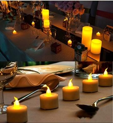 JZK 12 Flackern flammenloses LED Kerzen Lichter Batteriebetrieben Teelicht Teelichter, indoor oder outdoor Deko Lichts für Hochzeit Valentinstag Weihnachten Geburtstag Party - 6