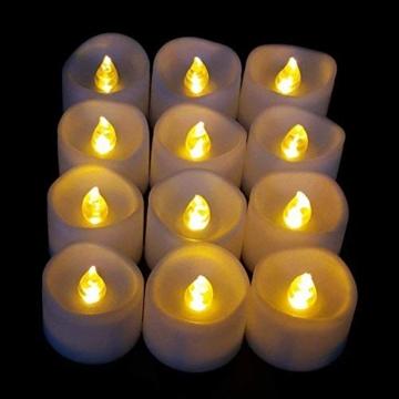 JZK 12 Flackern flammenloses LED Kerzen Lichter Batteriebetrieben Teelicht Teelichter, indoor oder outdoor Deko Lichts für Hochzeit Valentinstag Weihnachten Geburtstag Party - 8