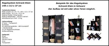 Kronenburg Regalsystem Badregal Steckregal Schrank Regal Kleiderschrank Garderobe 148 x 112 x 37 cm in Transparent - 4