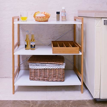 Küchenregal Mikrowellenhalter Standregal Holz mit 3 Ablagen Stilvoller Haushaltsregal für Küche Wohnzimmer Büro 78x70x37cm Weiß - 2