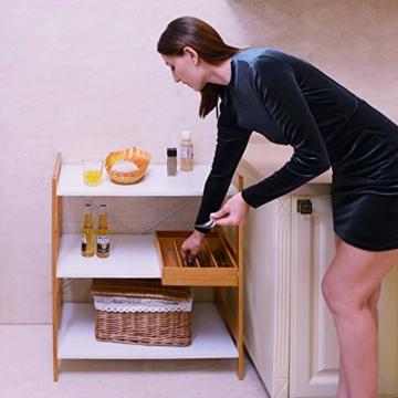Küchenregal Mikrowellenhalter Standregal Holz mit 3 Ablagen Stilvoller Haushaltsregal für Küche Wohnzimmer Büro 78x70x37cm Weiß - 3