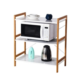 Küchenregal Mikrowellenhalter Standregal Holz mit 3 Ablagen Stilvoller Haushaltsregal für Küche Wohnzimmer Büro 78x70x37cm Weiß - 1